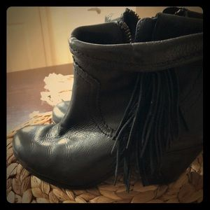 Black leather fringe booties! Gently worn.